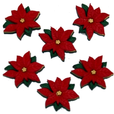 Dress It Up ~ RED POINSETTIAS 2951 ~ Christmas Sew Craft Jesse James Buttons